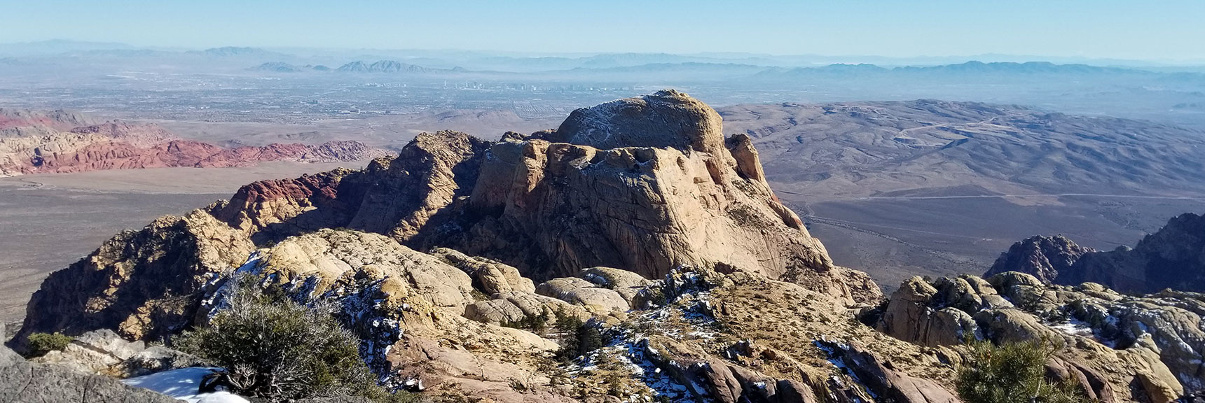 Bridge Mountain and Las Vegas Strip from Goat Rock Summit