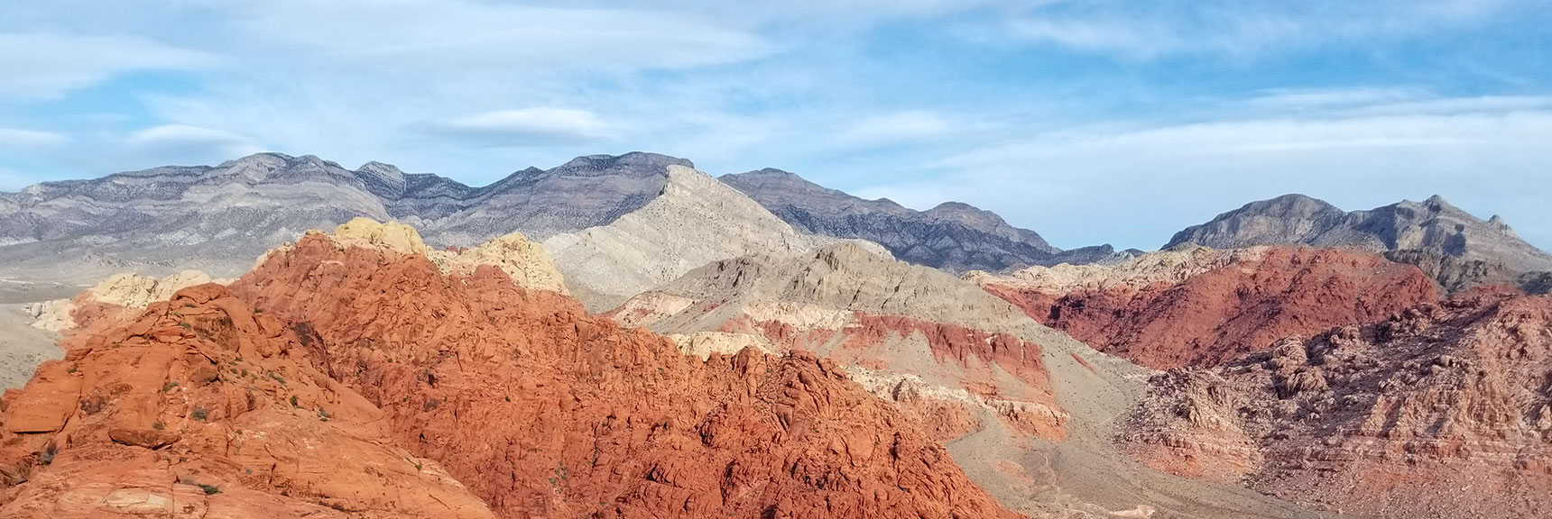 View Toward Turtlehead Peak and LaMadre Mountain from the Summit of Calico Hills In Red Rock National Park, Nevada