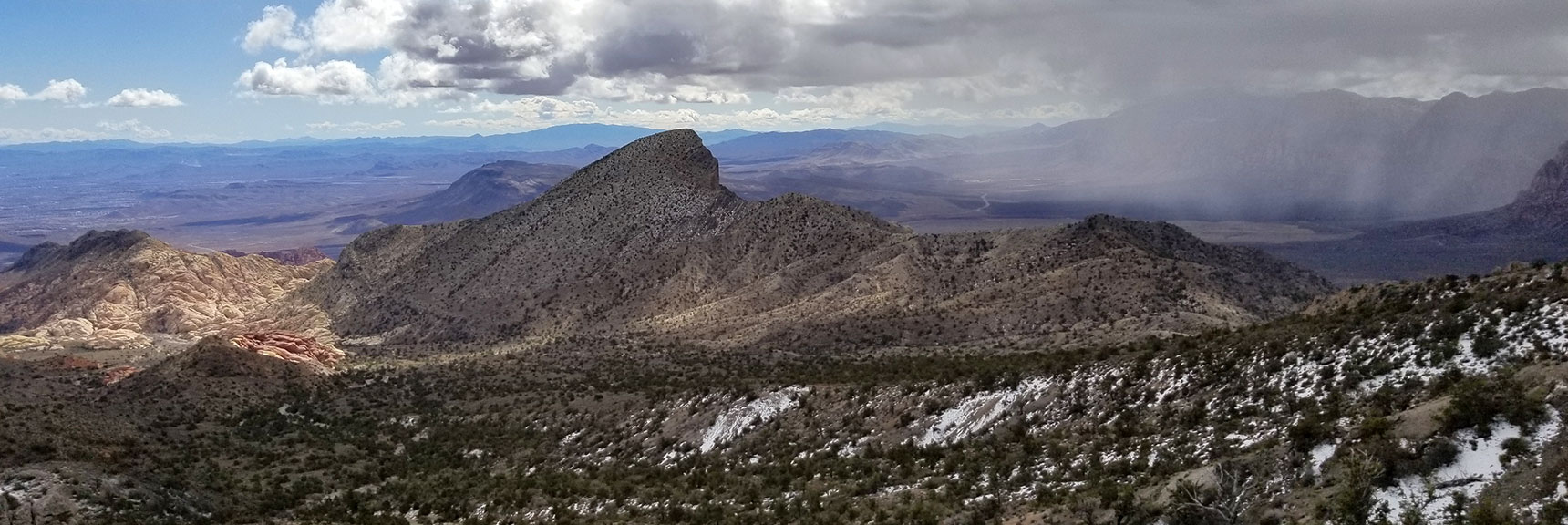 Looking down Calico Basin and Back of Turtlehead Peak from the base of La Madre Mountain