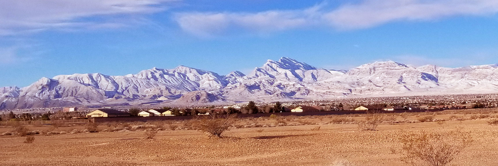 La Madre Mountain Wilderness from South of Gass Peak, Nevada After Snowfall