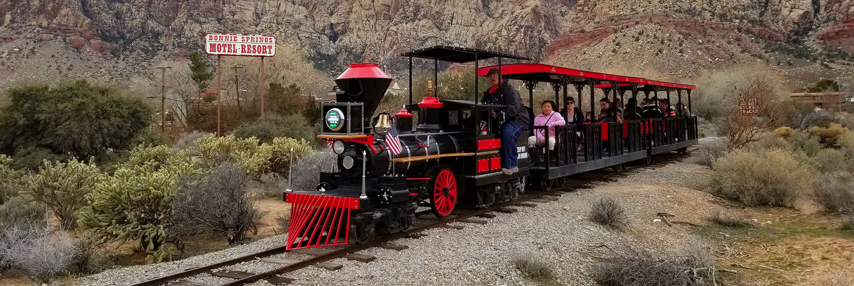 Train from lower to upper parking lot at Bonnie Springs Ranch, Nevada