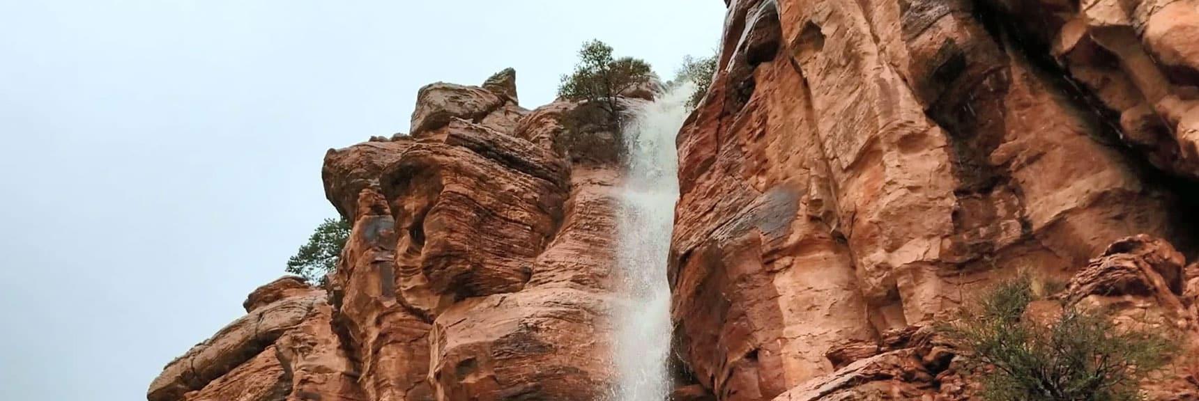 Waterfall on Middle Oak Creek Trail Near Red Rock Park, Nevada