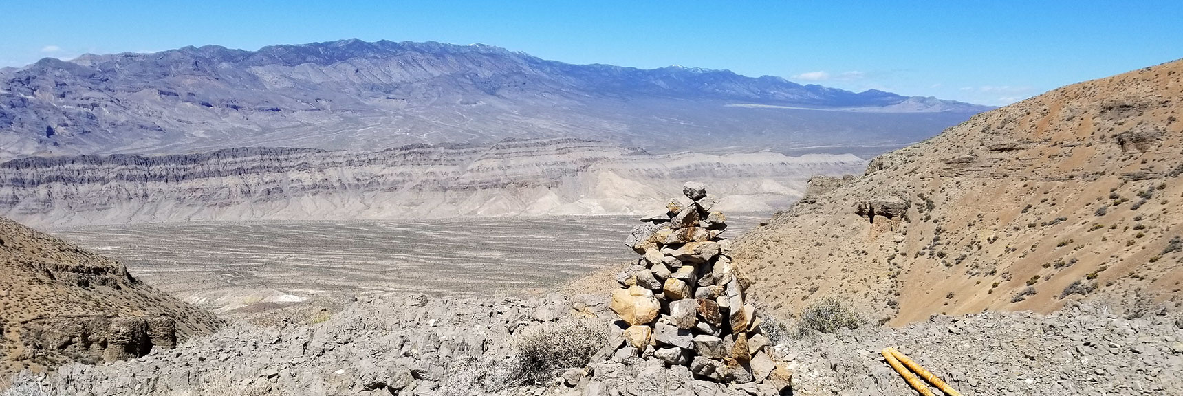 Gass Peak Nevada mid-summit descent point, view of Sheep Mountain Range.