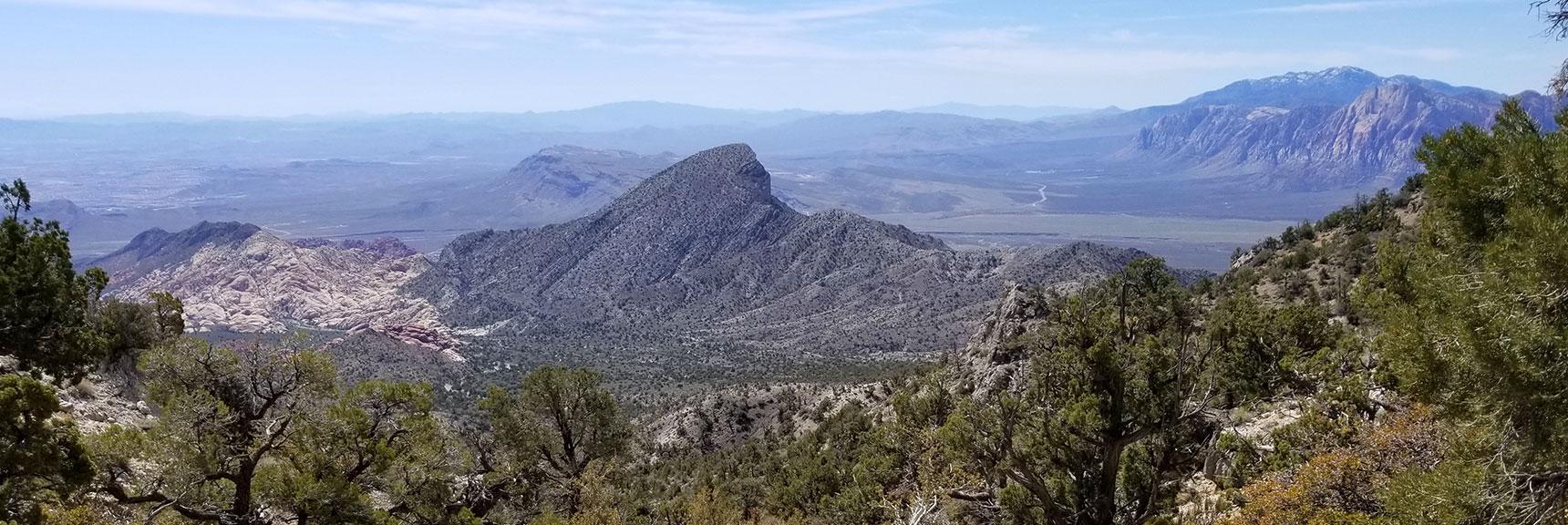 Turtlehead Peak Viewed Down La Madre Summit Pass Route at 7,200ft, Nevada