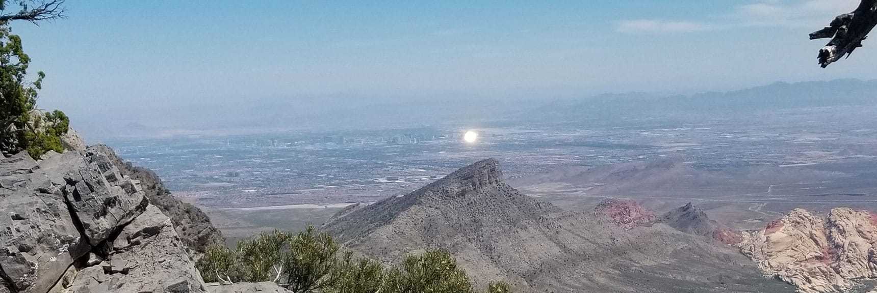 Luxor Reflects Afternoon Sun from 7800ft on Keystone Thrust, La Madre Mt Wilderness, NV