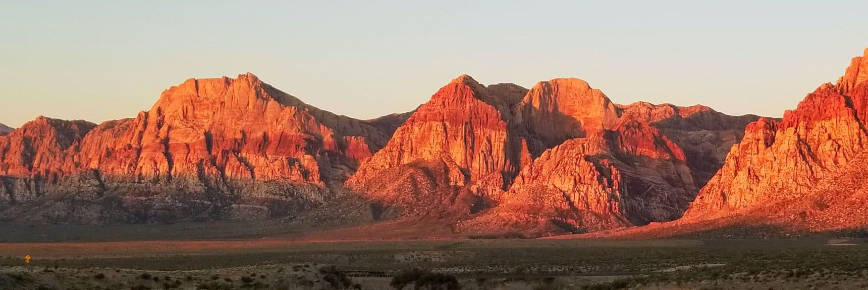 Rainbow Mountain Sunrise in Red Rock National Park, Nevada