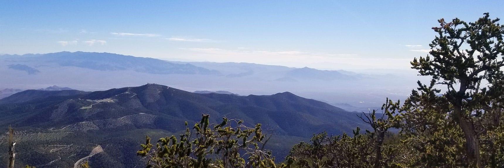 Mt Charleston Observatory with Desert National Wildlife Refuge in Background View from Fletcher Peak