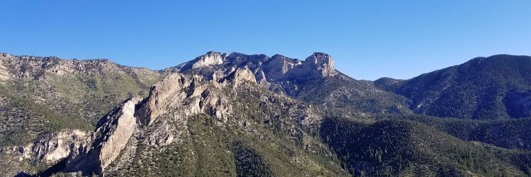 View of Mummy Mountain from Cathedral Rock Summit, Mt. Charleston Wilderness, Nevada