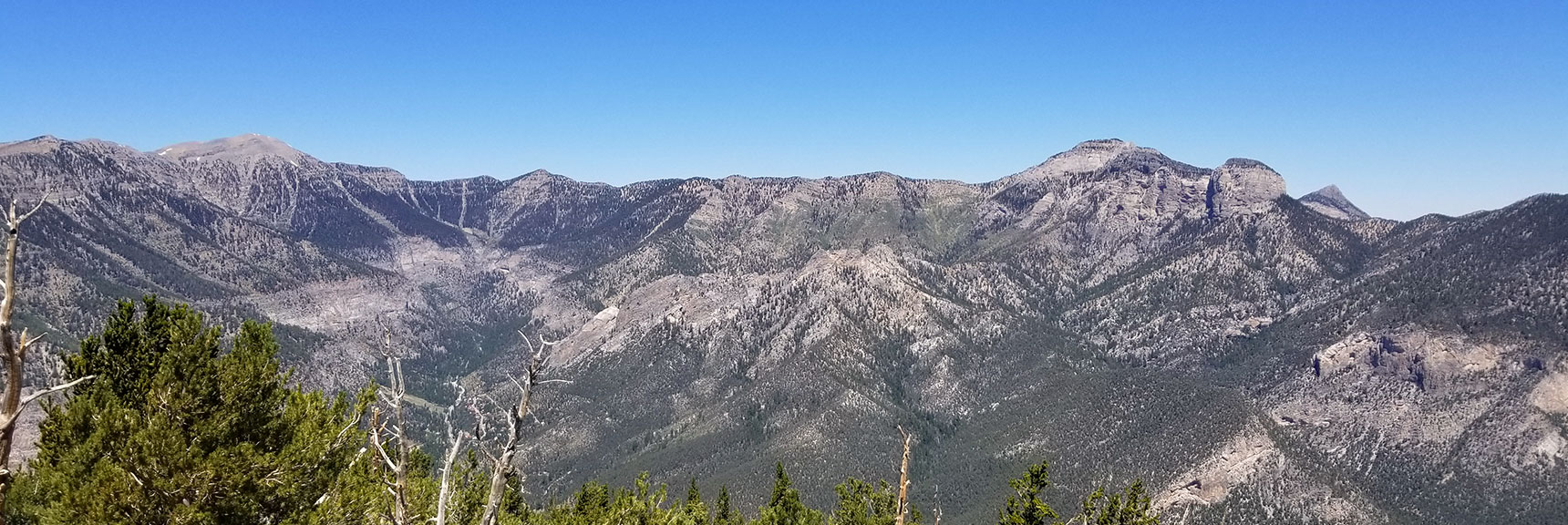 View Down the Middle of Kyle Canyon to Charleston Peak, Lee Peak and Mummy Mountain, Nevada