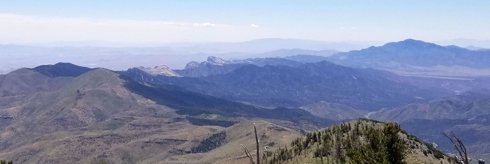 View of Goat Peak, Bridge Mountain, Mt. Wilson from Harris Mt Summit, Nevada