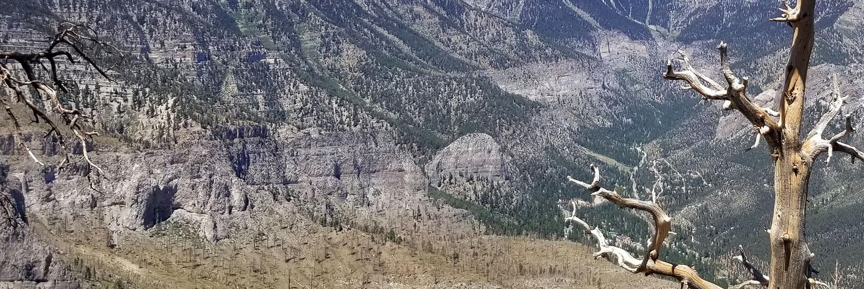 View Down Harris Mt. Ridge Toward Direction Marker Cathedral Rock, Nevada