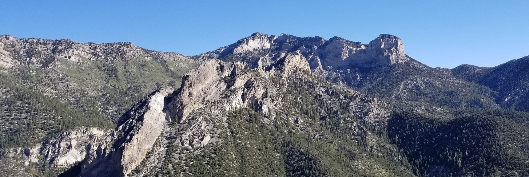 Cockscomb Peak and Ridge Viewed from Cathedral Rock Summit in Mt. Charleston Wilderness, Nevada