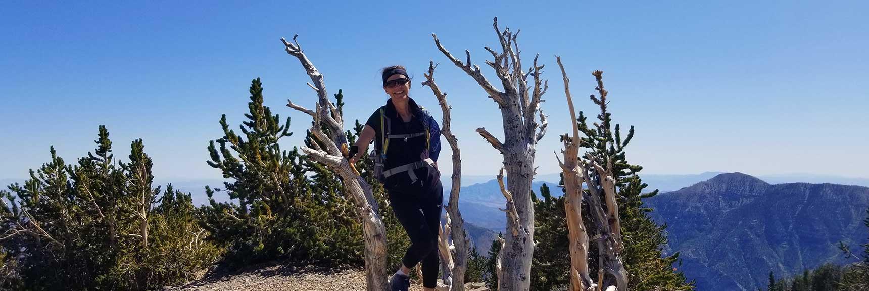 Sharon on the Summit Tree of Mummy Mt. in Nevada
