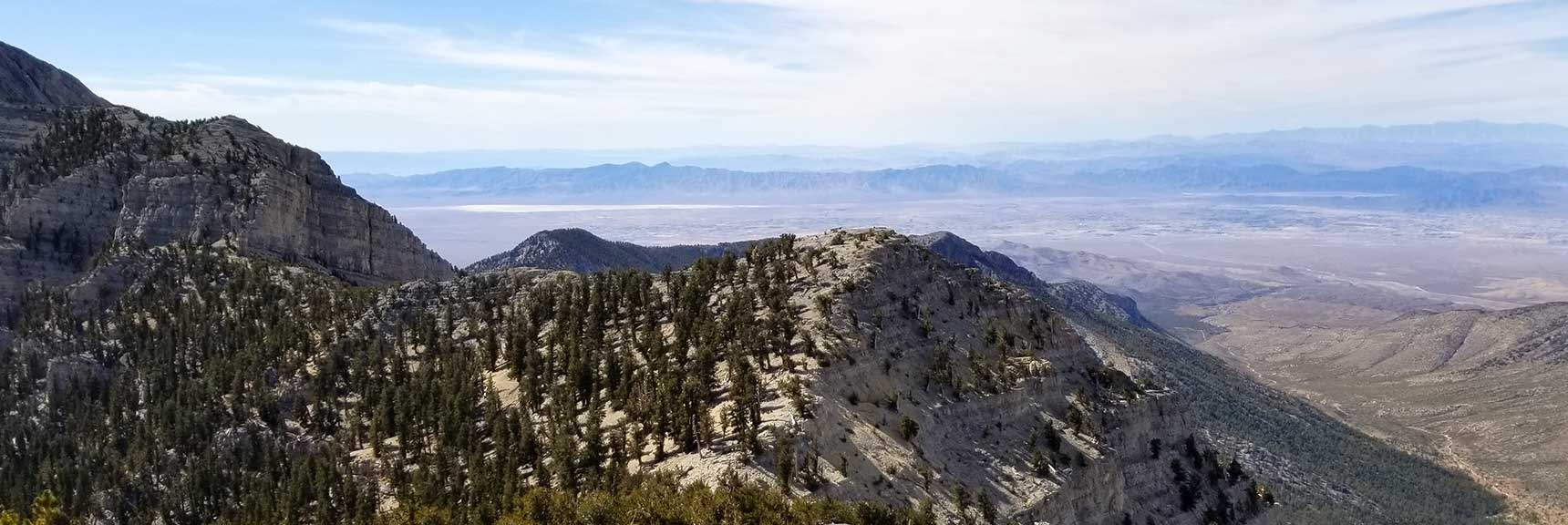 Pahrump and Telescope Peak Viewed from Lee Peak in Kyle Canyon, Spring Mountains, Nevada Slide 001