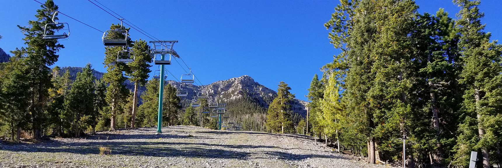 Ascending Ski Run Toward Lee Peak in Lee Canyon, Nevada