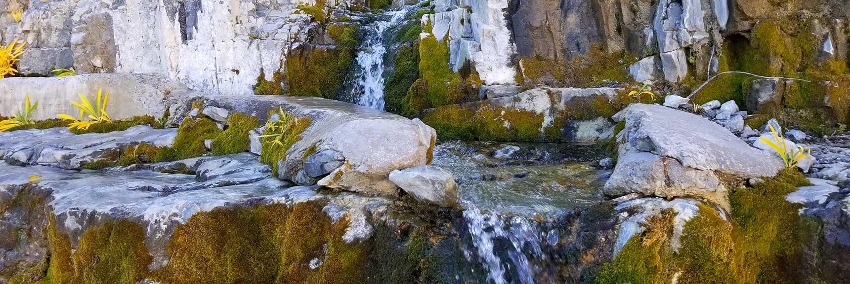 Waterfall in Wash Below Lee Peak in Lee Canyon, Nevada