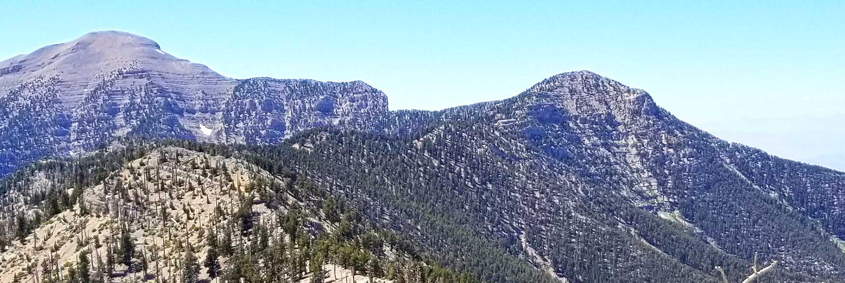 Lee Peak Approach Ridge from Lee Canyon Viewed from Mummy Mt., Spring Mountains, Nevada