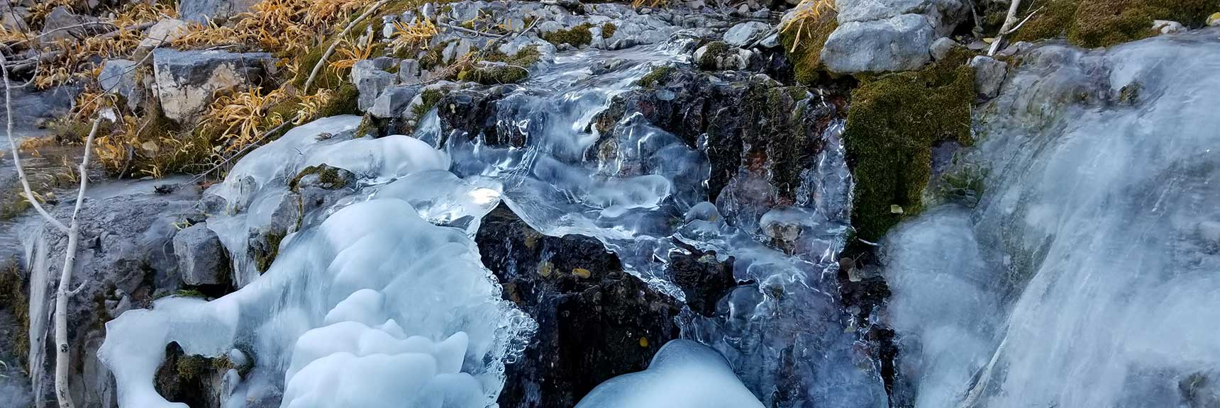 Frozen Mountain Stream and Ice Covered Rocks to Navigate In the Mountain Wash, Charleston Peak from Cathedral Rock, Spring Mountains, Nevada