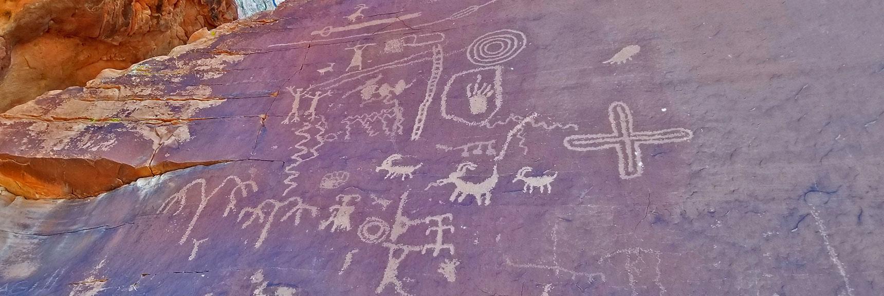 Atlatl Rock Petroglyphs in Valley of Fire State Park, Nevada Slide 2