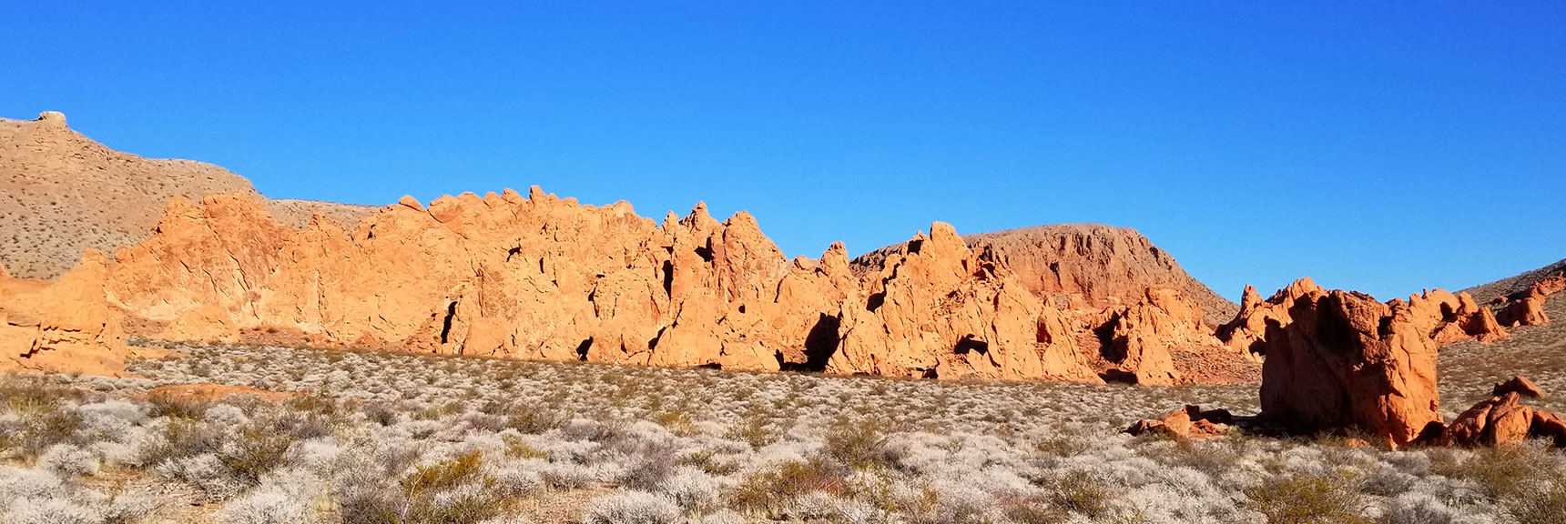 First View of the Pinnacles on Pinnacles Loop Trail in Valley of Fire State Park, Nevada