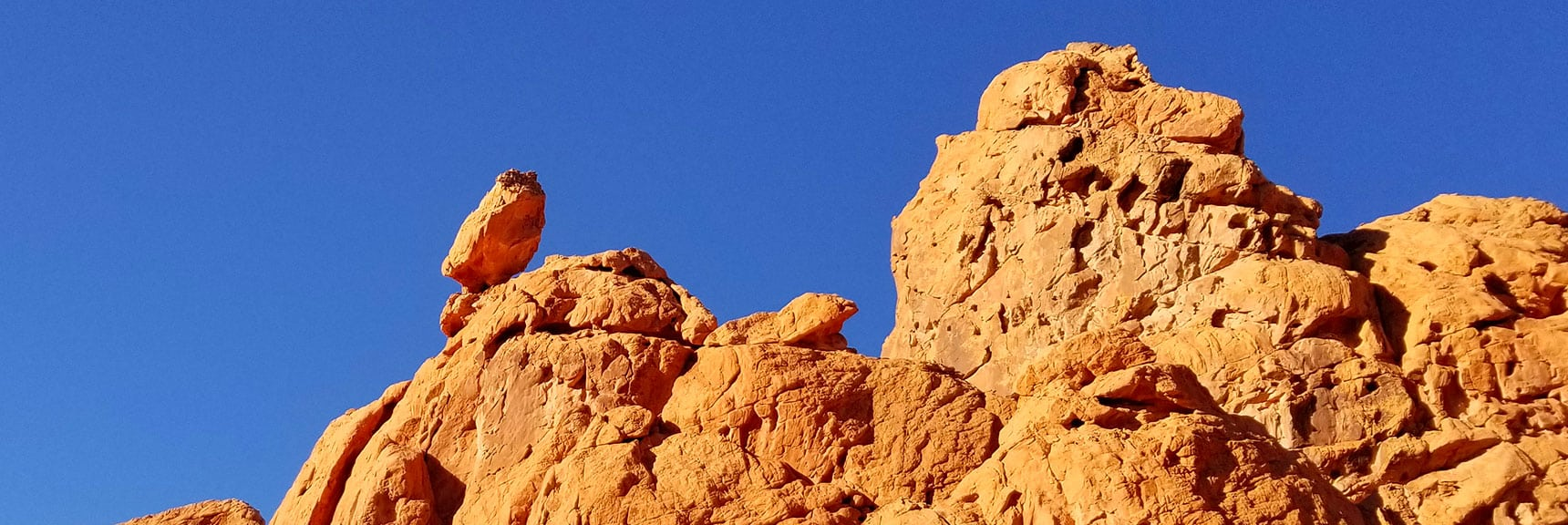 Balancing Rock on Unique Perspective of the Pinnacles from Above Pinnacles Loop Trail in Valley of Fire State Park, Nevada