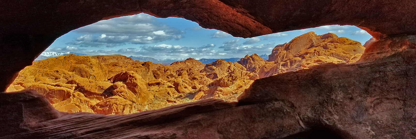 Rock Window View Beyond Mouse's Tank Trail in Valley of Fire State Park, Nevada