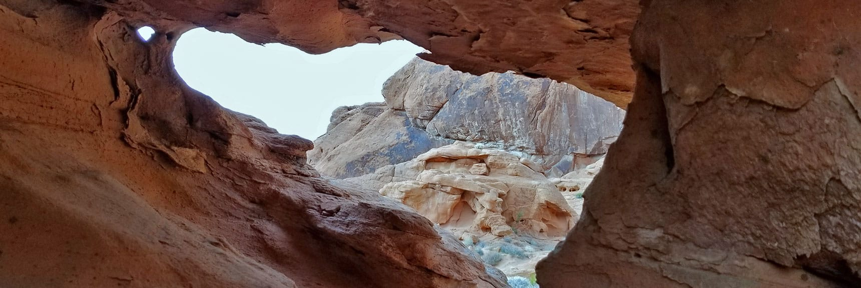 View from Inside the Rock Frames Fire Canyon in Valley of Fire State Park, Nevada