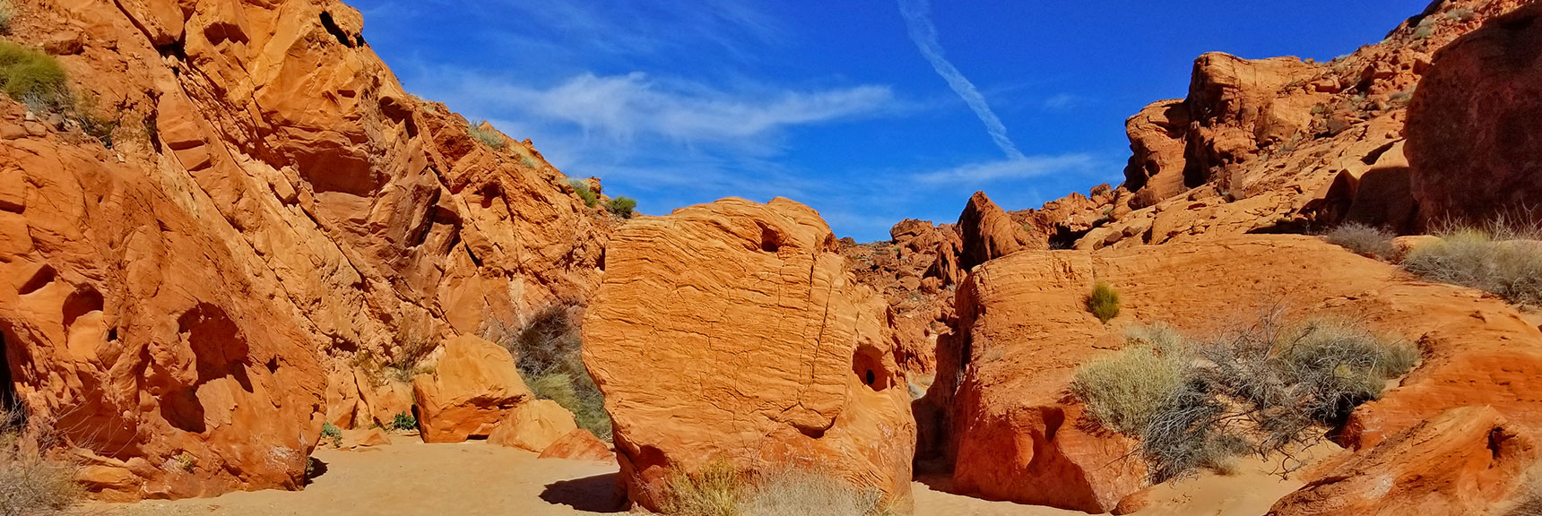 Fallen Boulder from a Cliffon Natural Arches Trail, Valley of Fire State Park, Nevada