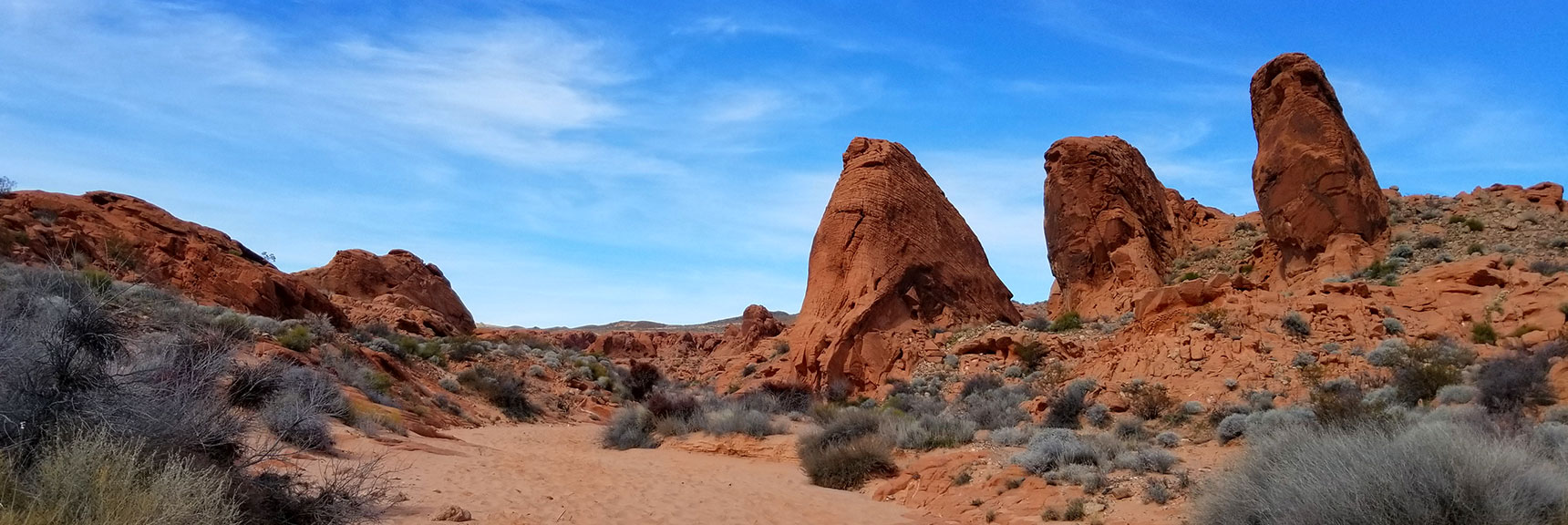 Three Pinnacles on Natural Arches Trail, Valley of Fire State Park, Nevada