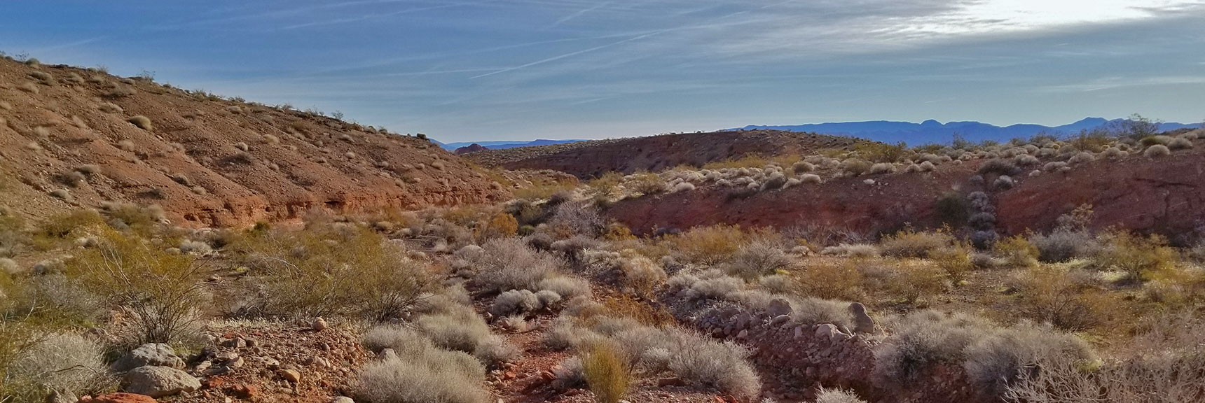 Begin to Navigate Desert Washes Traveling East on Old Arrowhead Trail in Valley of Fire State Park, Nevada