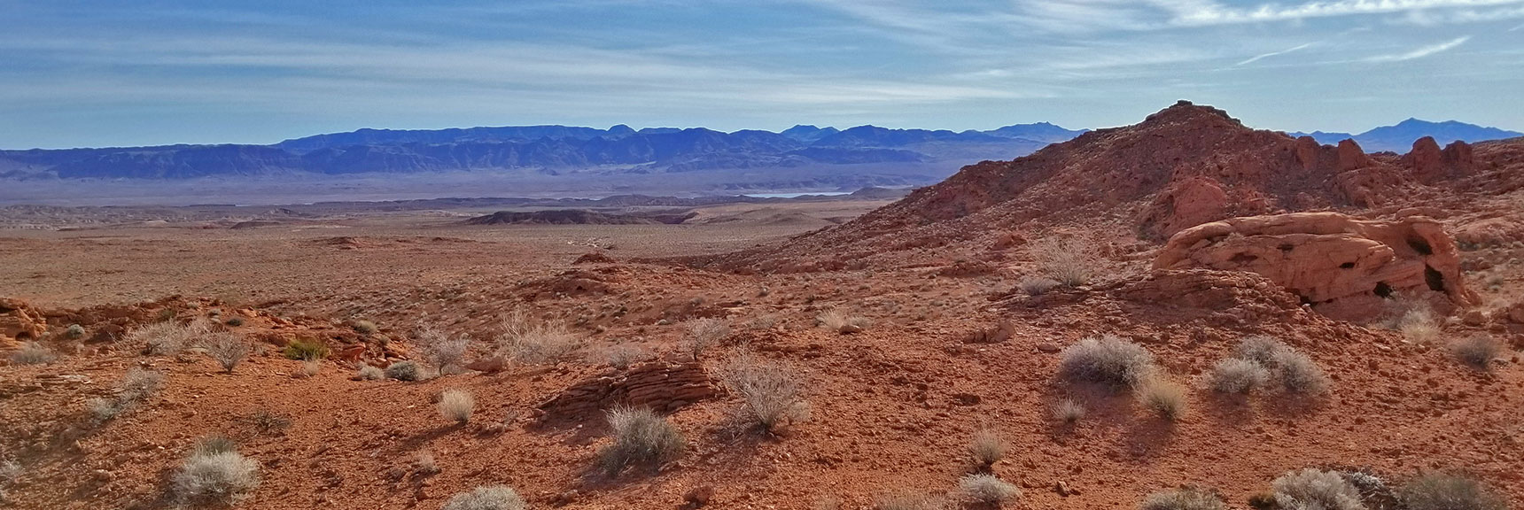 View Toward the Overton Arm of Lake Mead from the Red Rock Hills South of Elephant Loop in Valley of Fire State Park, Nevada