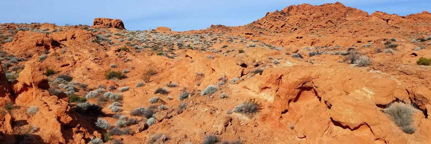 Navigating the Red Rock Hills South of Elephant Rock Loop in Valley of Fire State Park, Nevada
