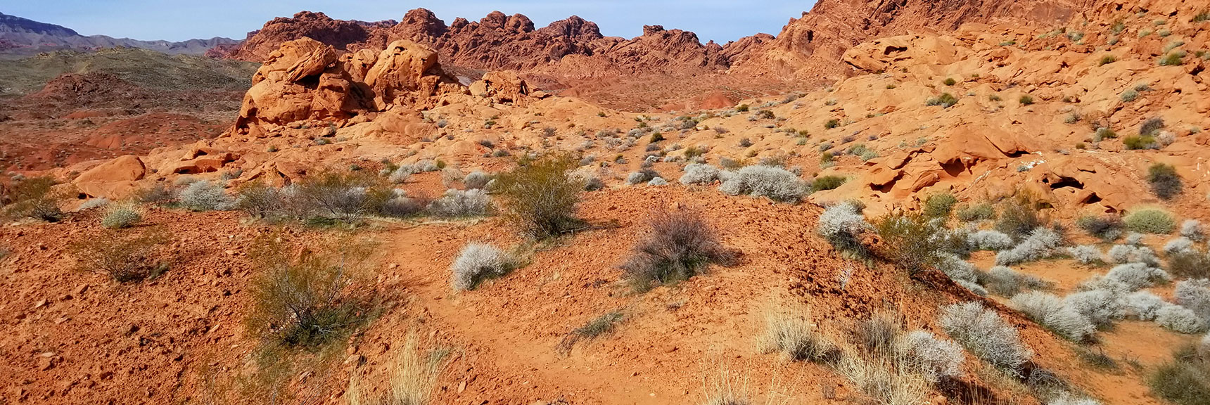 Connecting to a Trail in the Red Rock Hills South of Elephant Rock Loop in Valley of Fire State Park, Nevada