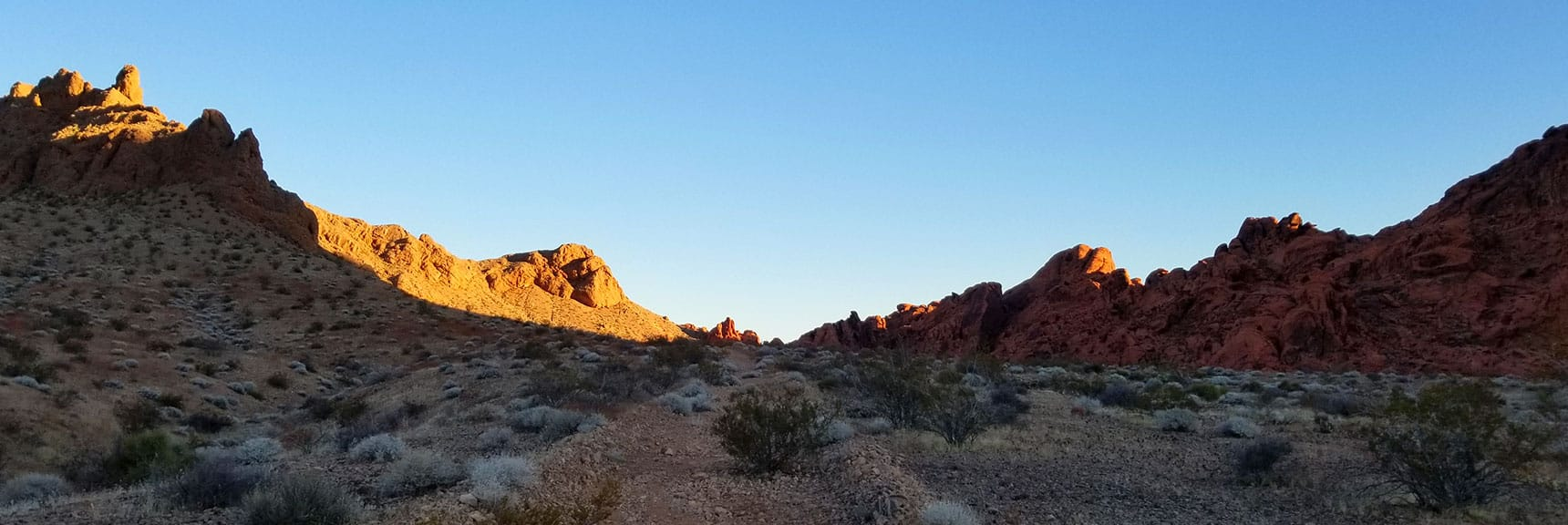 Ascending Toward the Pass for Prospect Trail in Valley of Fire State Park, Nevada
