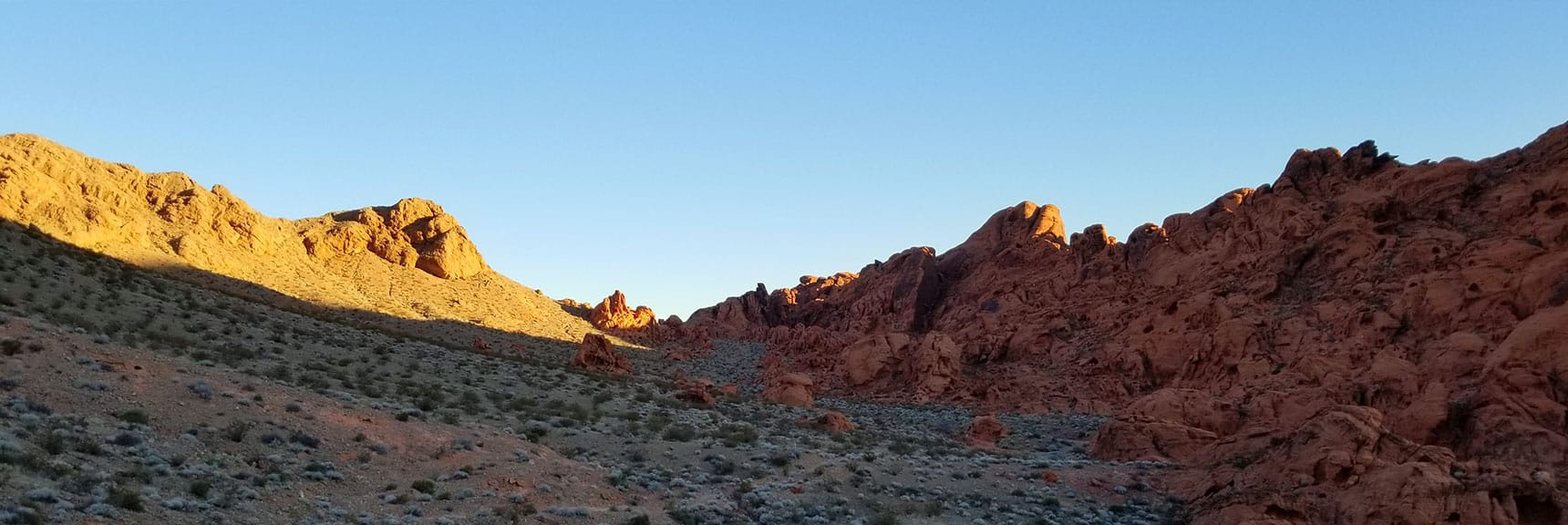 Ascending North Toward the Pass on Prospect Trail in Valley of Fire State Park, Nevada
