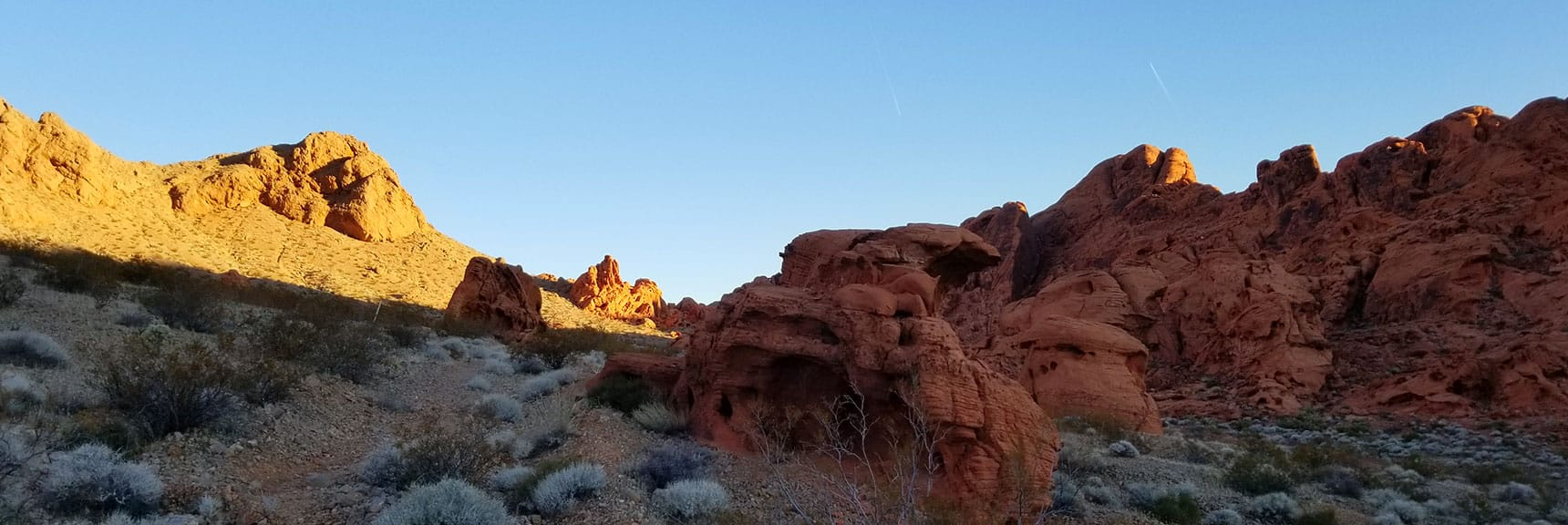 Ascending Through the Pass on Prospect Trail in Valley of Fire State Park, Nevada