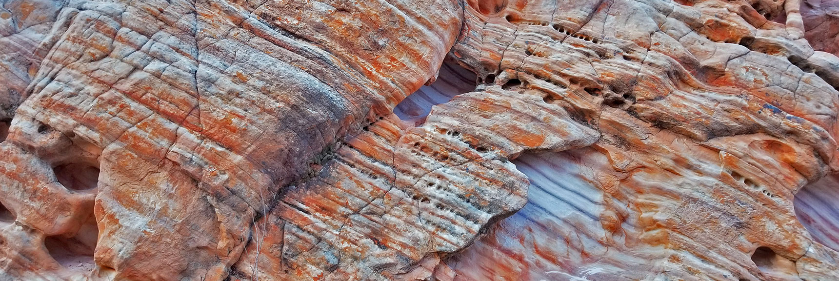 Colorful Fire Wave Rock Formations in the Northern Canyon Wash on Prospect Trail in Valley of Fire State Park, Nevada