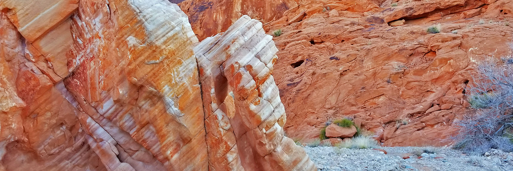 Colorful Firewave Rock Formations in the Northern Canyon Wash on Prospect Trail in Valley of Fire State Park, Nevada