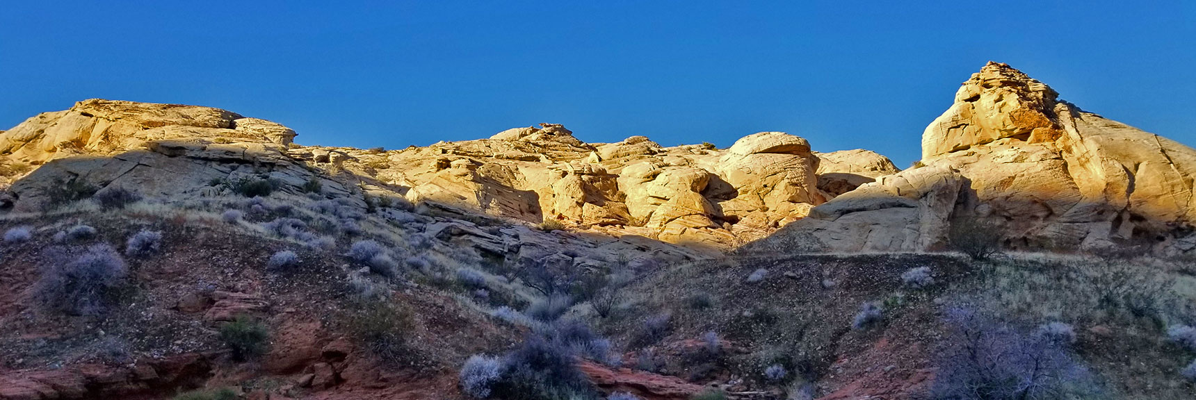 White Domes Coming Into View from the Northern Canyon Wash on Prospect Trail in Valley of Fire State Park, Nevada