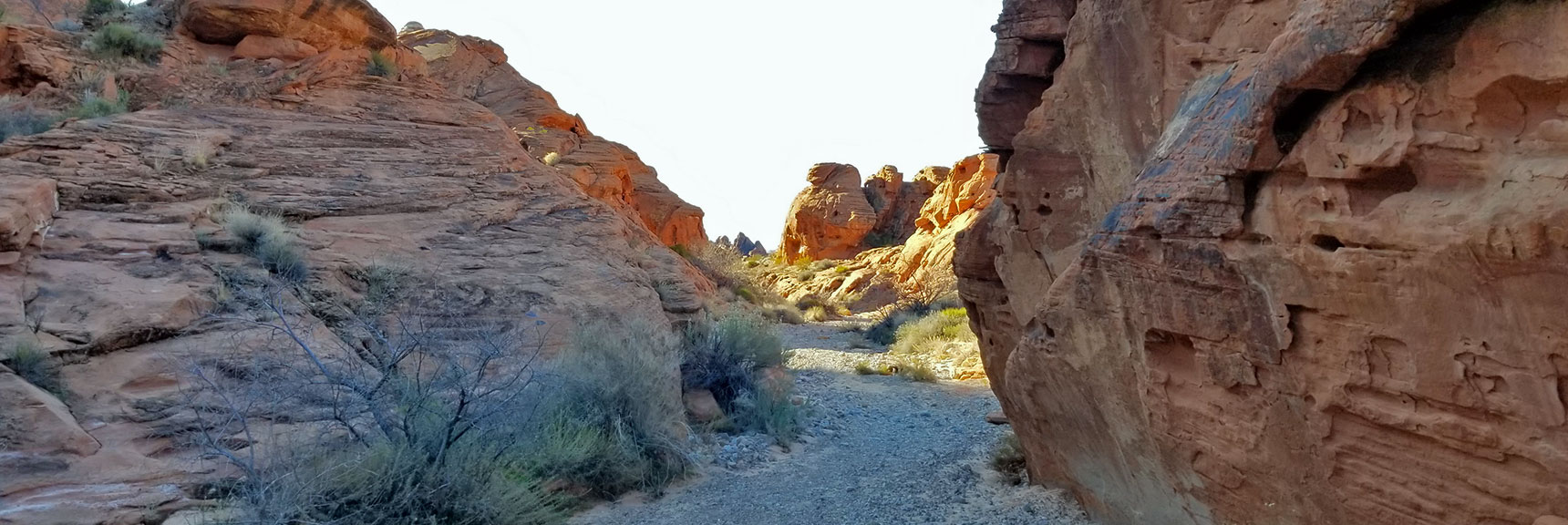 Descending Through the Northern Canyon Wash Toward White Domes on Prospect Trail in Valley of Fire State Park, Nevada