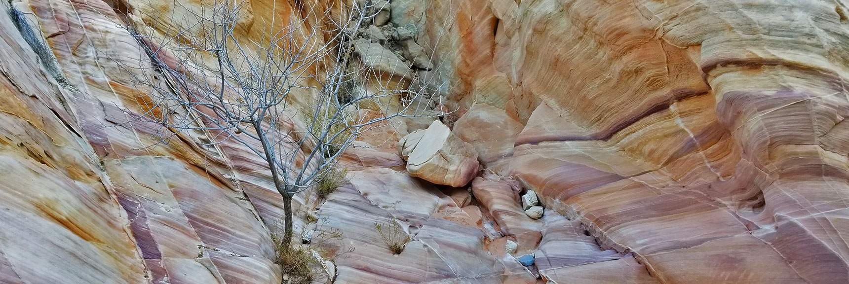 Passing Through Firewave Rocks While Descending Through the Northern Canyon Wash on Prospect Trail in Valley of Fire State Park, Nevada Prospect Trail in Valley of Fire State Park, Nevada