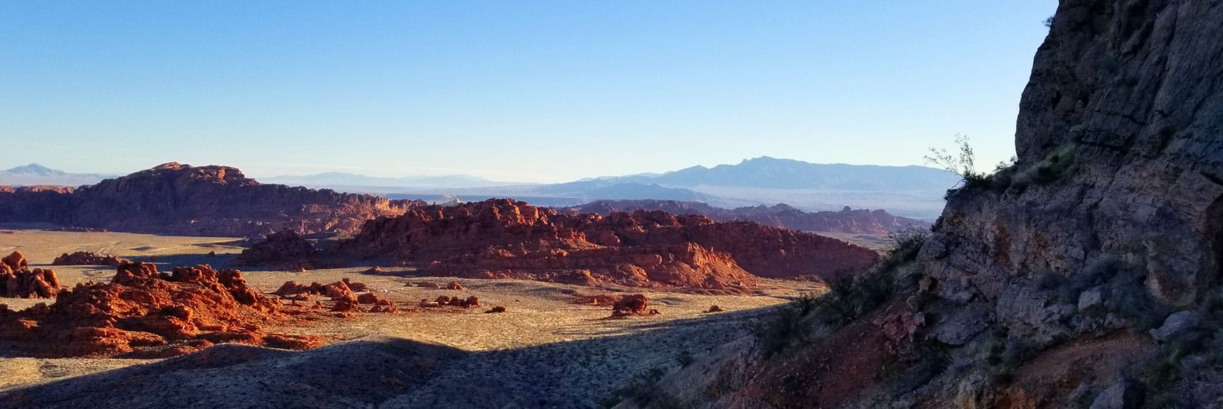 View Back Toward Valley of Fire State Park at Sunrise Before Entering the Muddy Mountains Wilderness, Nevada