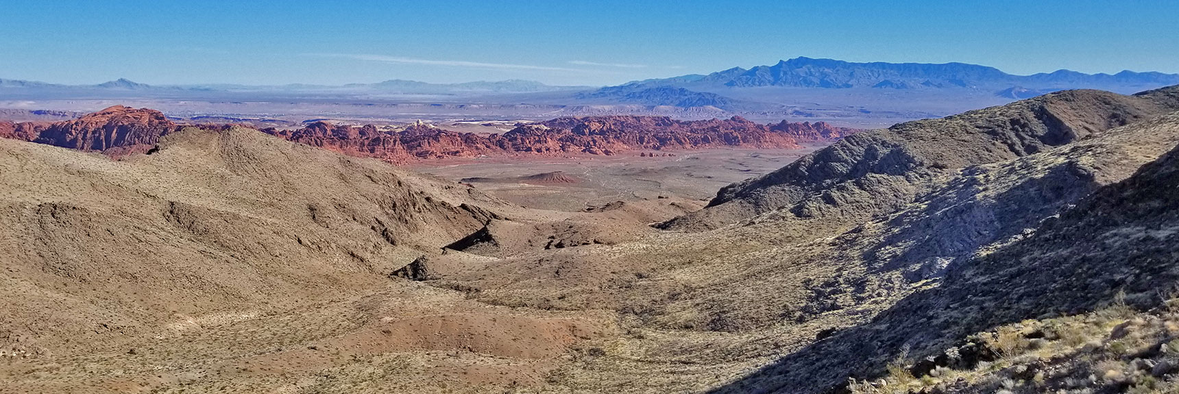 Looking Down a Valley Toward Eastern Valley of Fire State Park from the Muddy Mountains Wilderness, Nevada