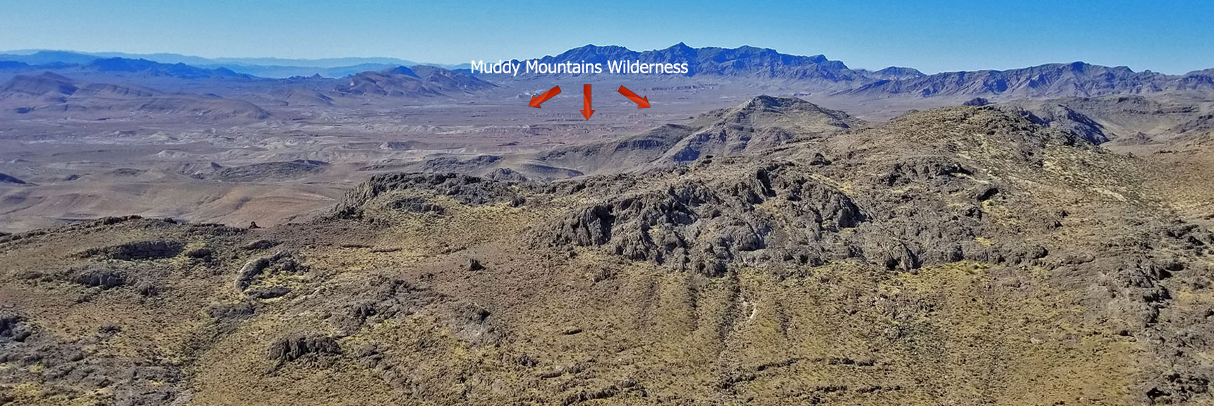 Muddy Mountains Wilderness NW High Point Panorama Slide 8