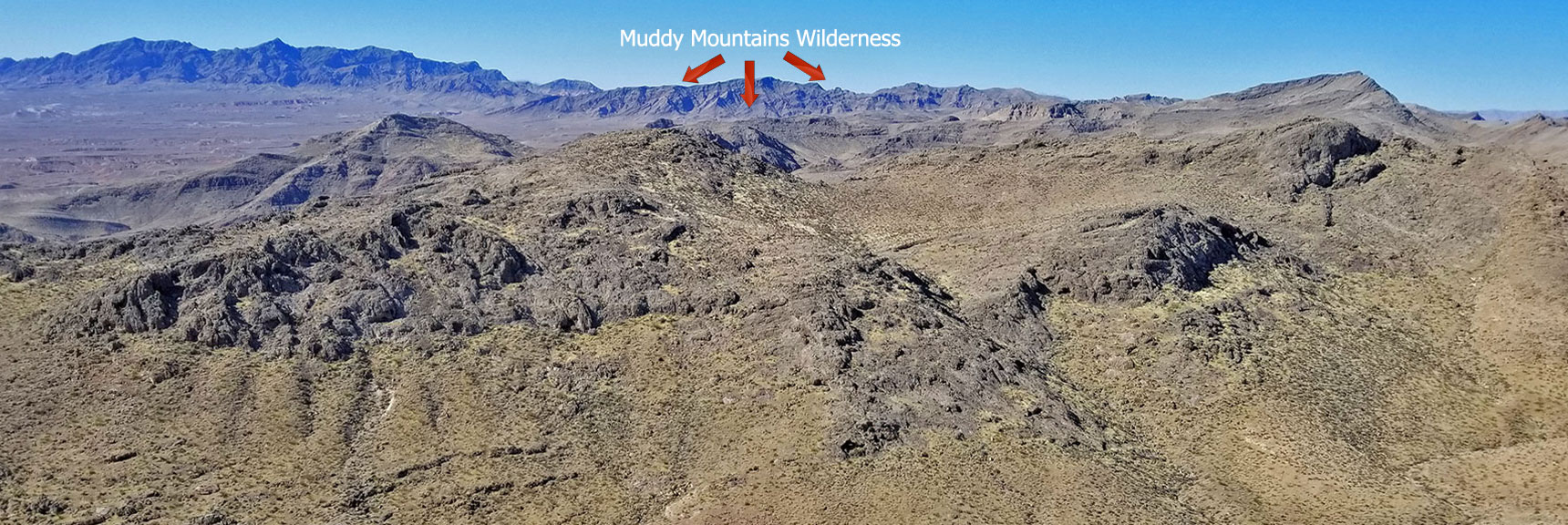 Muddy Mountains Wilderness NW High Point Panorama Slide 9