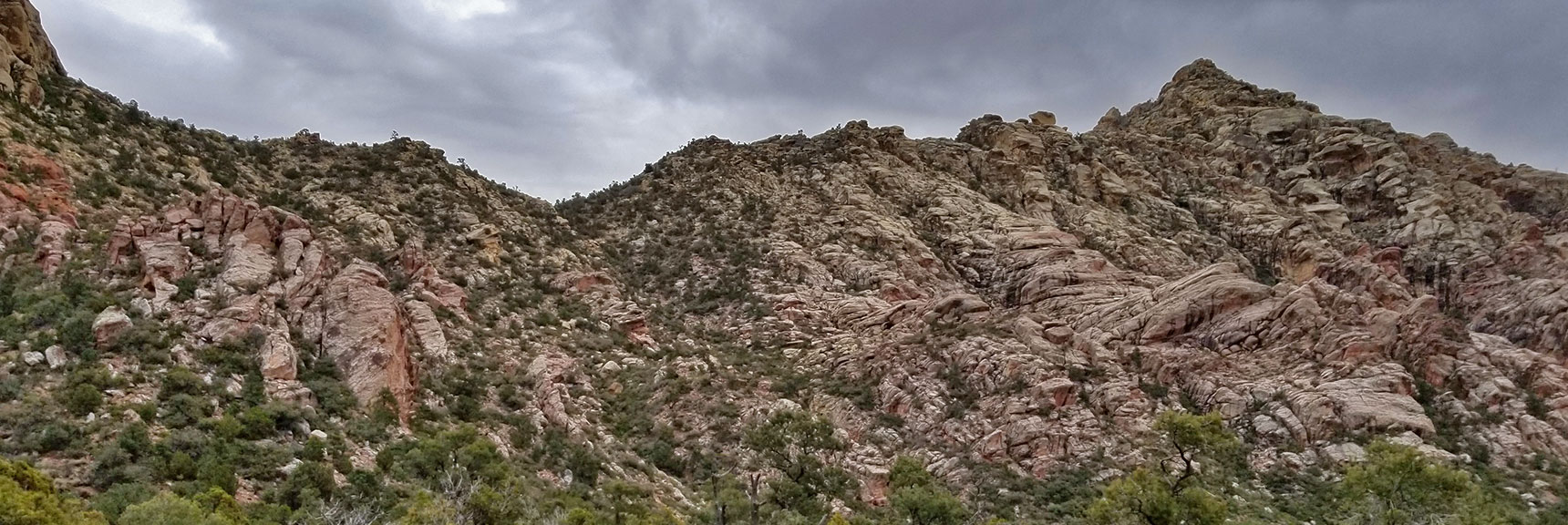 View of White Rock Mountain Saddle and Summit from White Rock Mountain Loop in Red Rock Park, Nevada