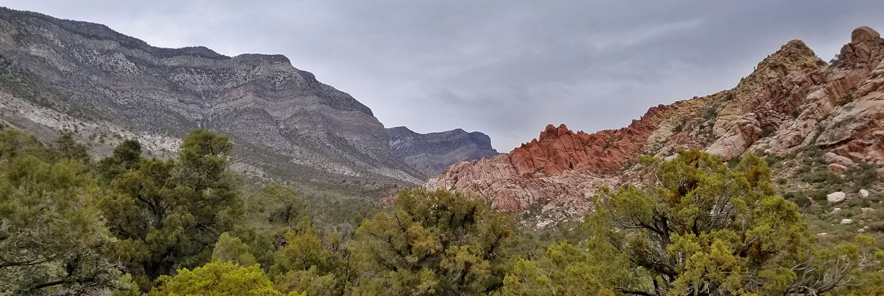 Looking Back at the Keystone Thrust and White Rock Mountain from White Rock Mountain Loop in Red Rock Park, Nevada