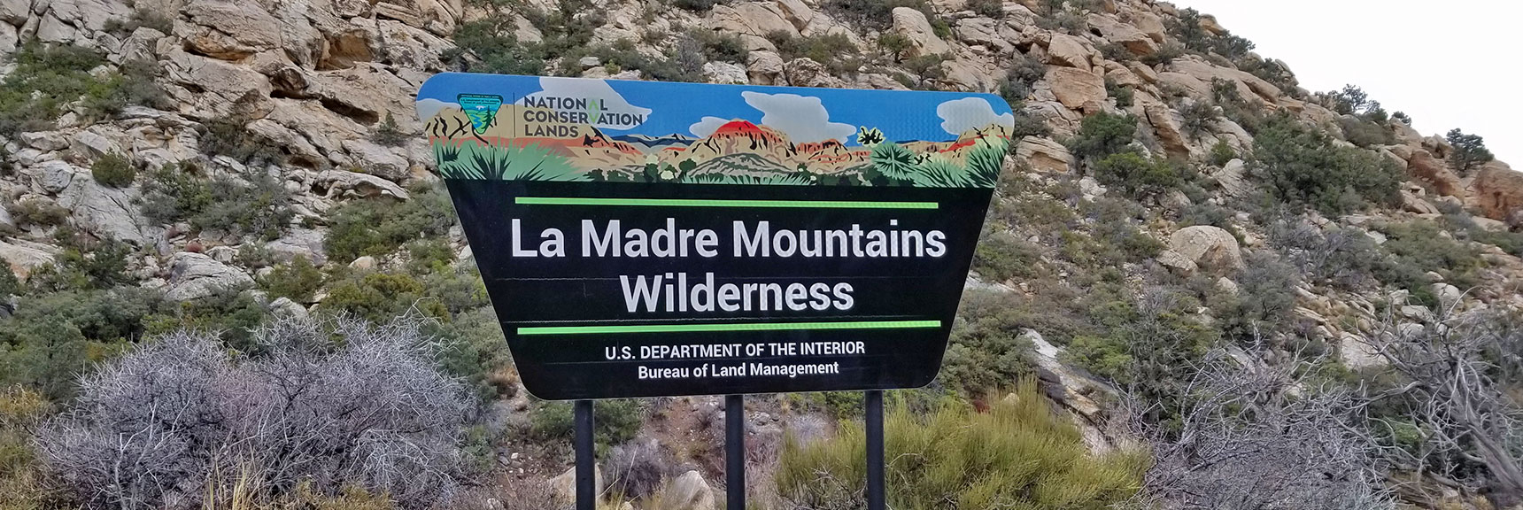 La Madre Mountains Wilderness Entrance at White Rock Mountain Loop in Red Rock Park, Nevada