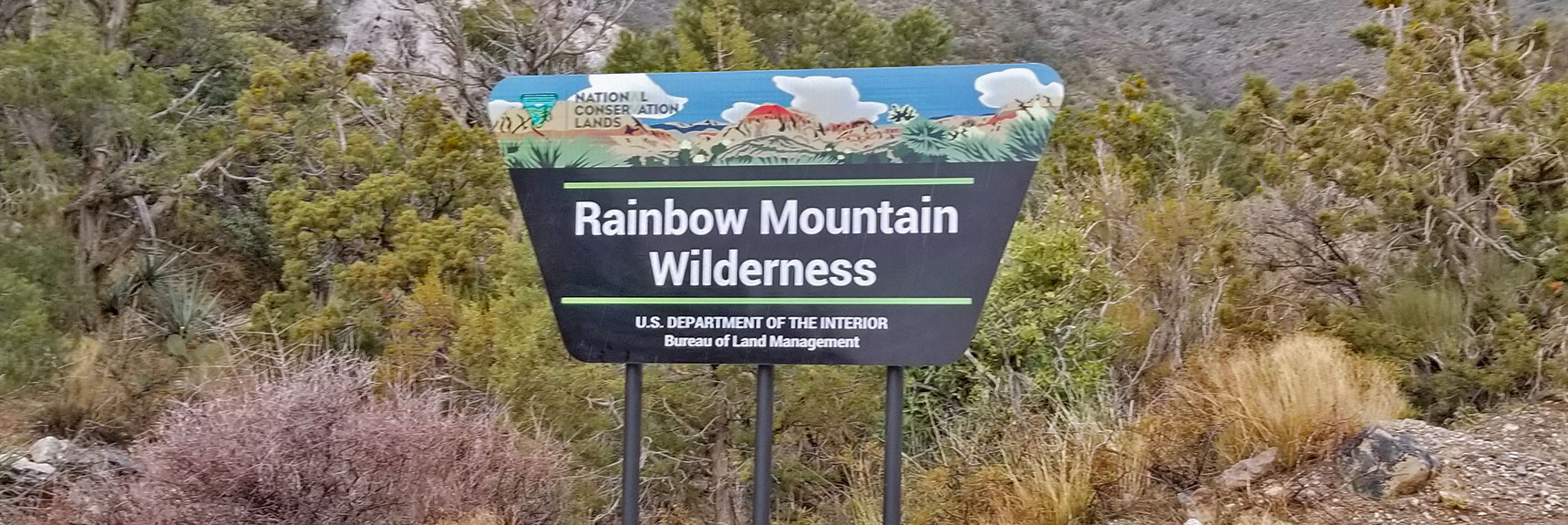 Rainbow Mountain Wilderness Entrance on Rocky Gap Road at White Rock Mountain Loop in Red Rock Park, Nevada