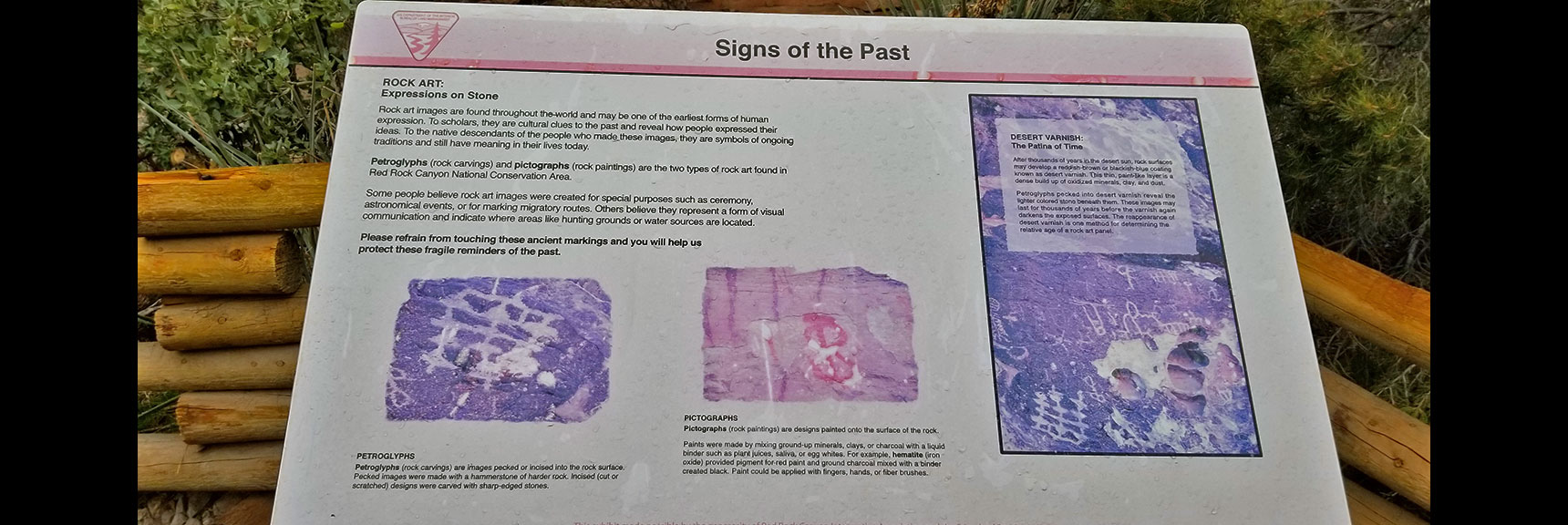 Interpretive Sign for Petroglyphs Just Off White Rock Mountain Loop in Red Rock Park, Nevada